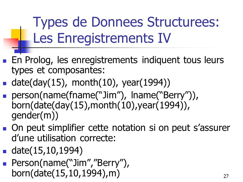 Types de Donnees Structurees: Les Enregistrements IV