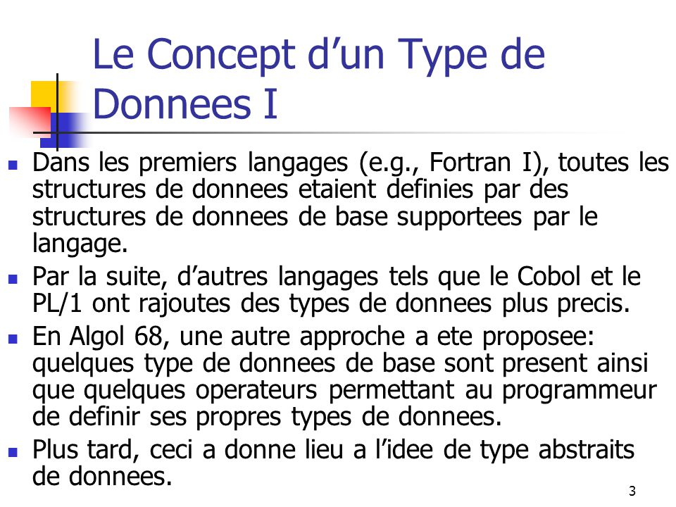 Le Concept d'un Type de Donnees I