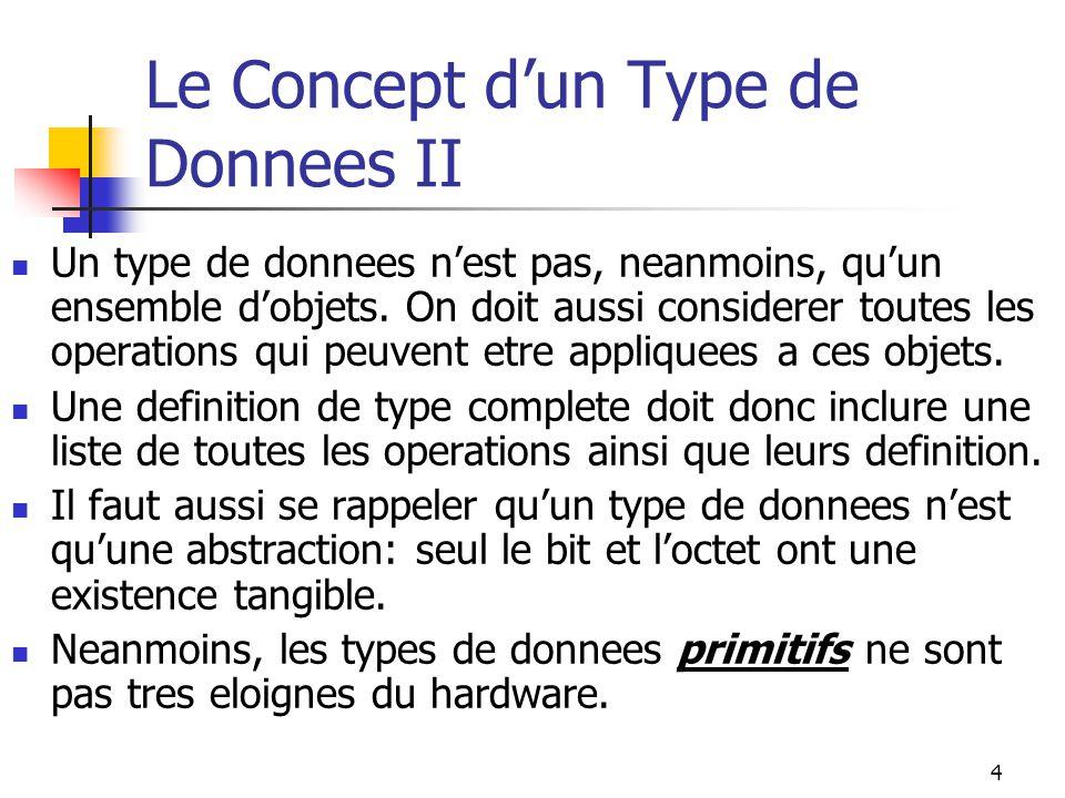 Le Concept d'un Type de Donnees II