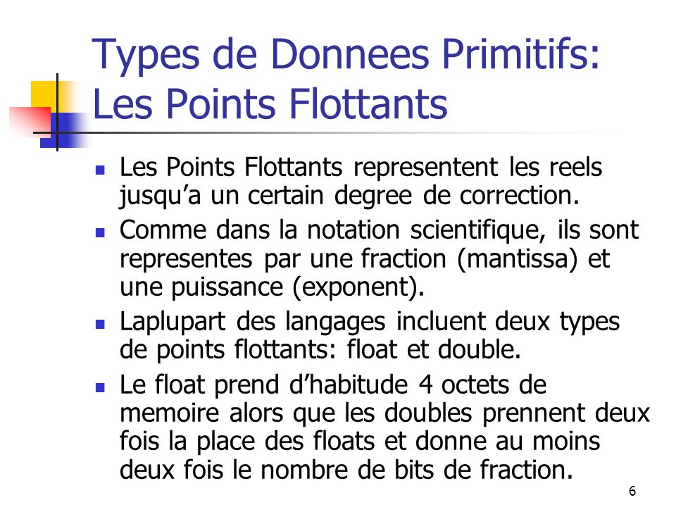Types de Donnees Primitifs: Les Points Flottants