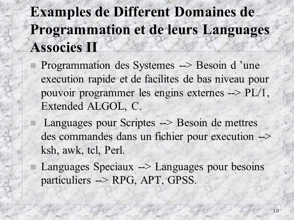 Examples de Different Domaines de Programmation et de leurs Languages Associes II