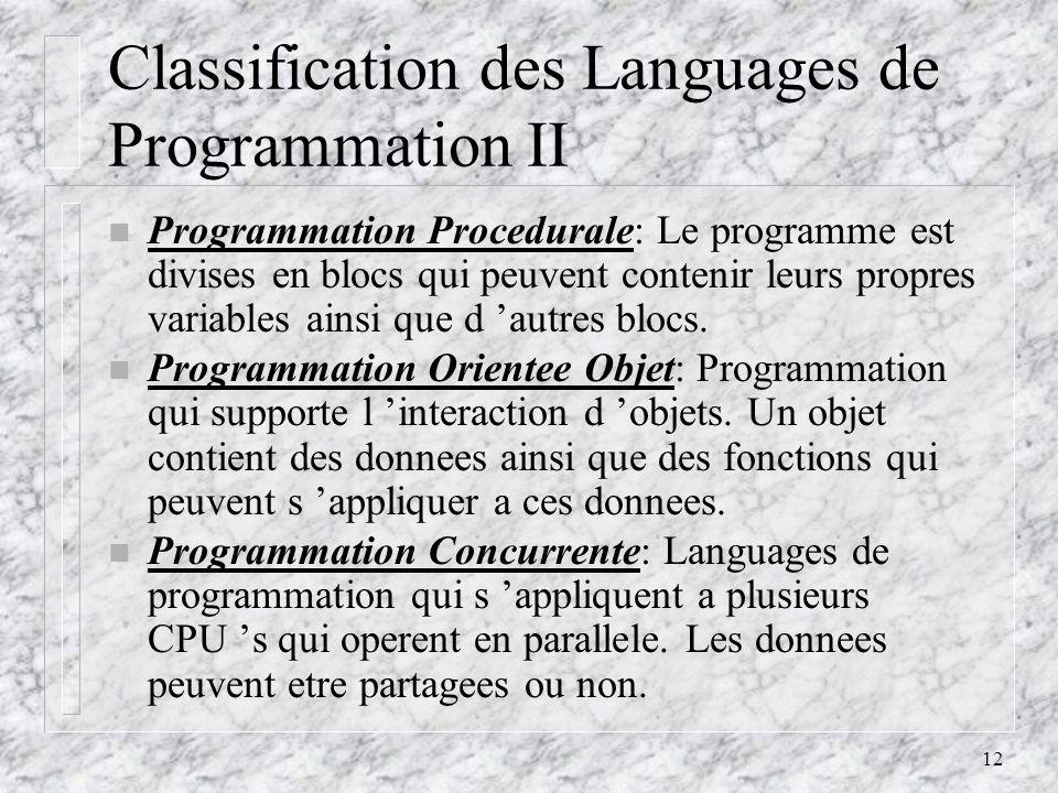 Classification des Languages de Programmation II
