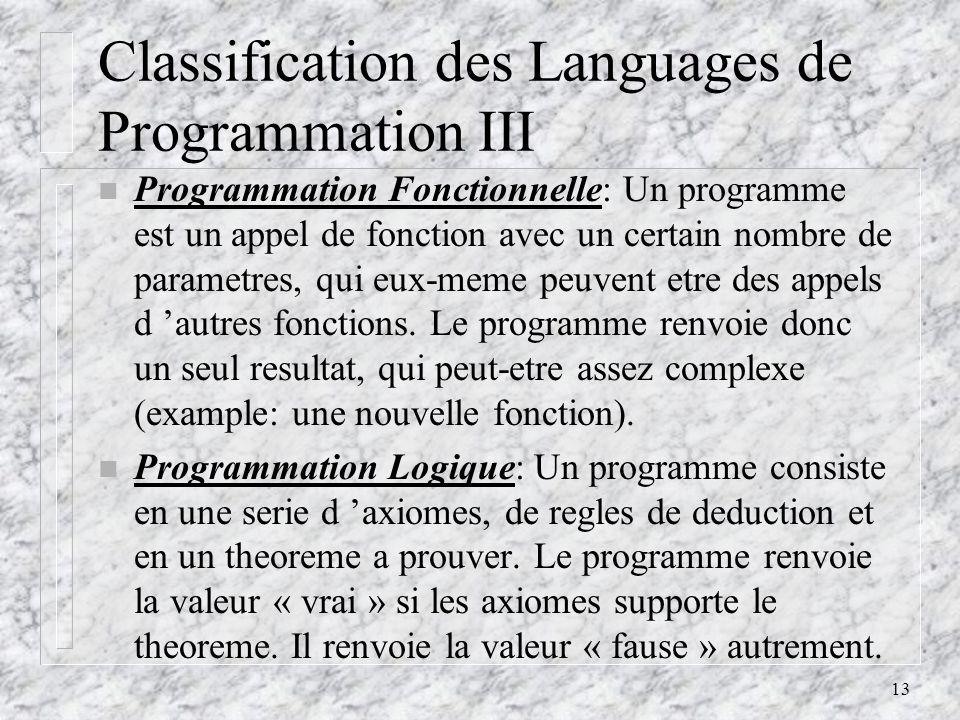Classification des Languages de Programmation III
