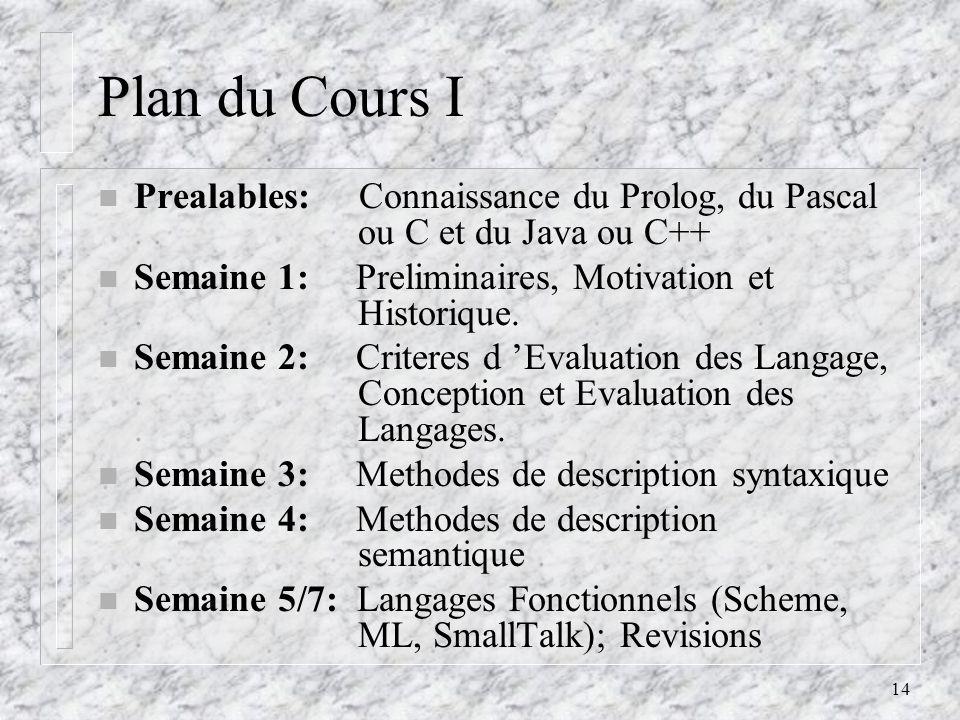 Plan du Cours I Prealables: Connaissance du Prolog, du Pascal . . ou C et du Java ou C++