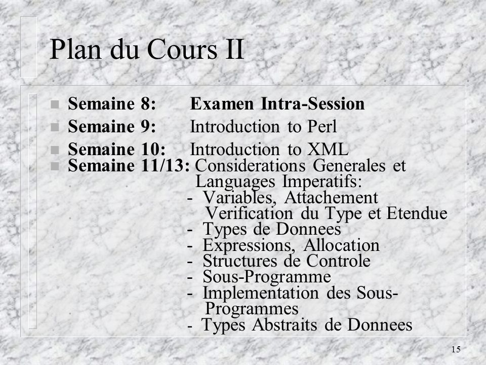 Plan du Cours II Semaine 8: Examen Intra-Session