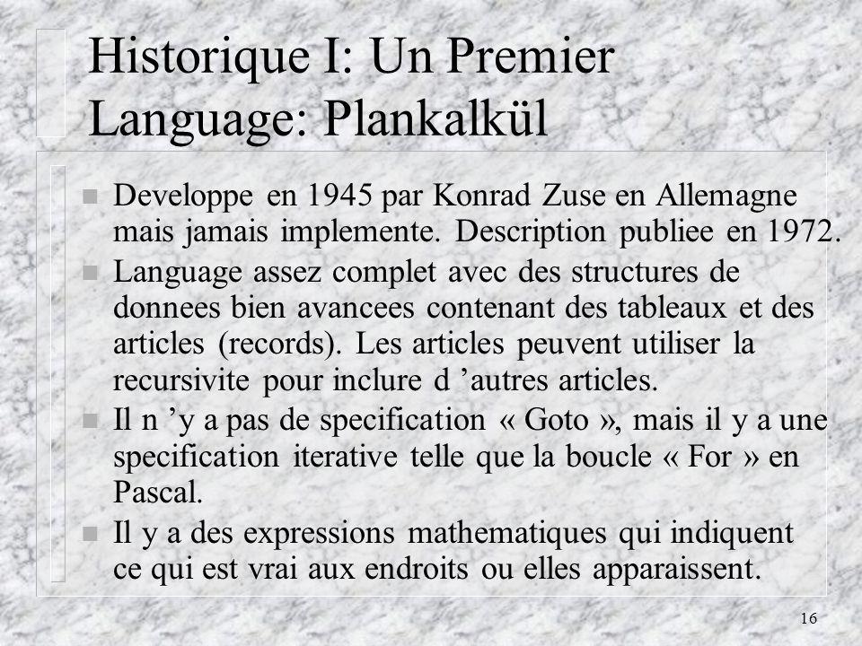 Historique I: Un Premier Language: Plankalkül