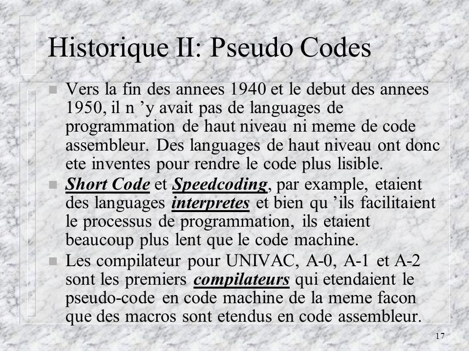 Historique II: Pseudo Codes
