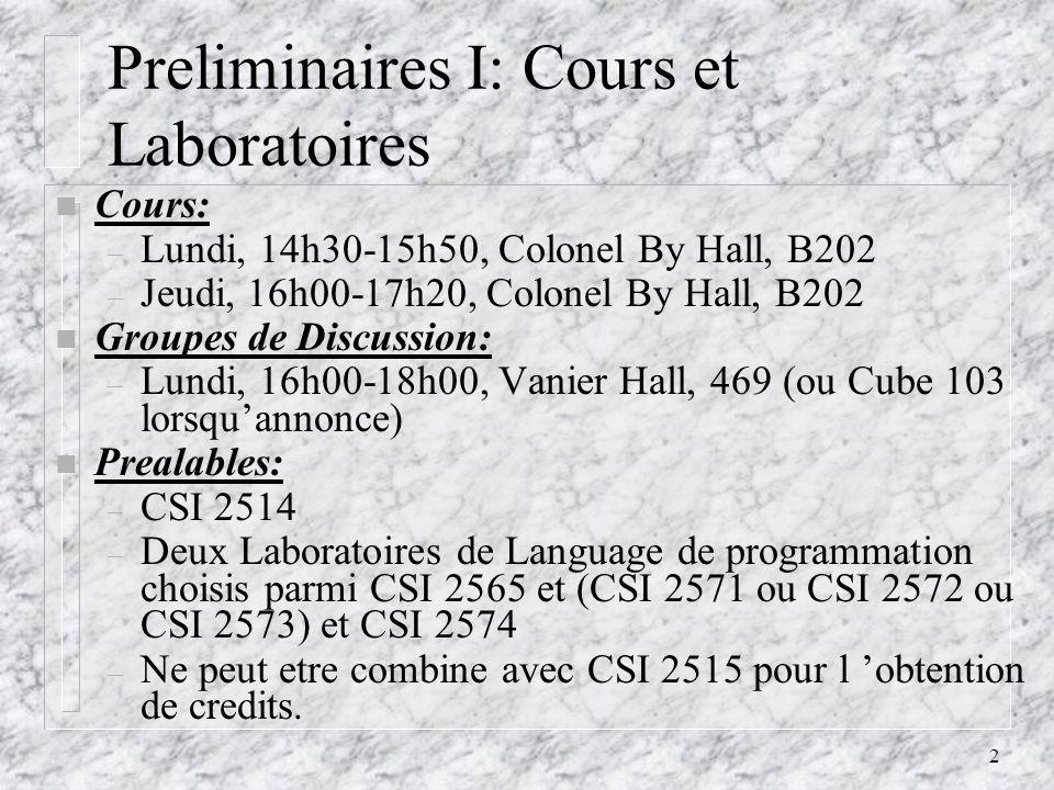 Preliminaires I: Cours et Laboratoires