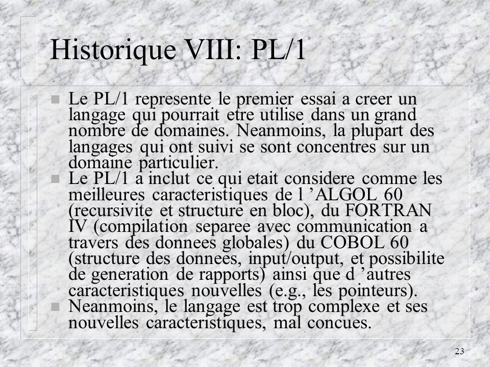 Historique VIII: PL/1