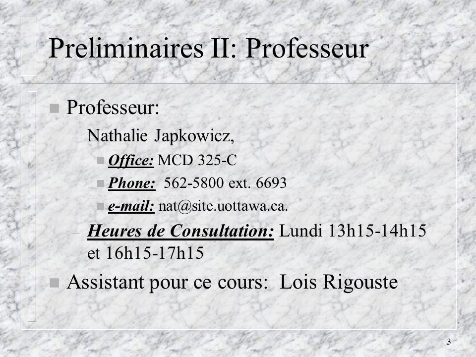 Preliminaires II: Professeur