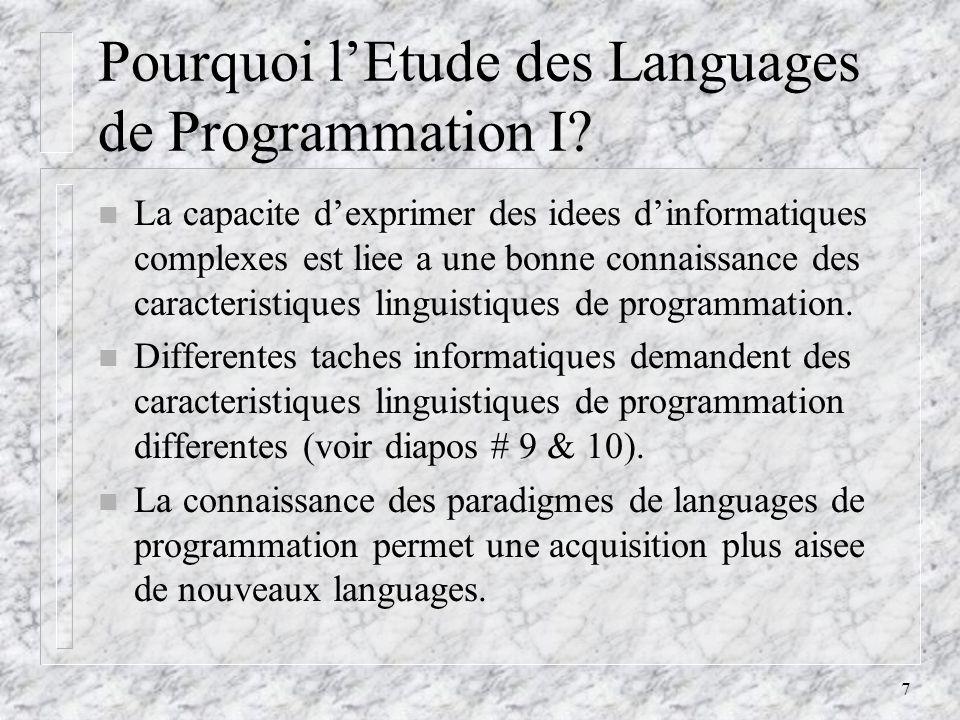 Pourquoi l'Etude des Languages de Programmation I