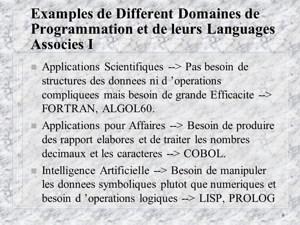 Examples de Different Domaines de Programmation et de leurs Languages Associes I