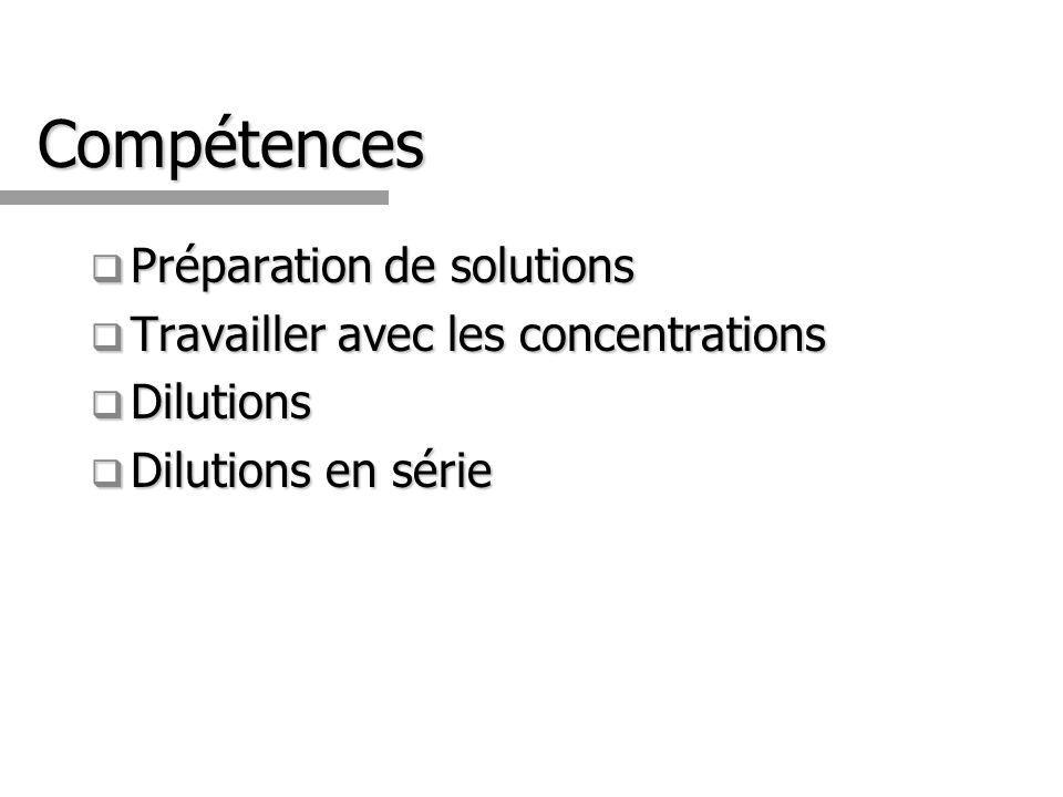 Compétences Préparation de solutions