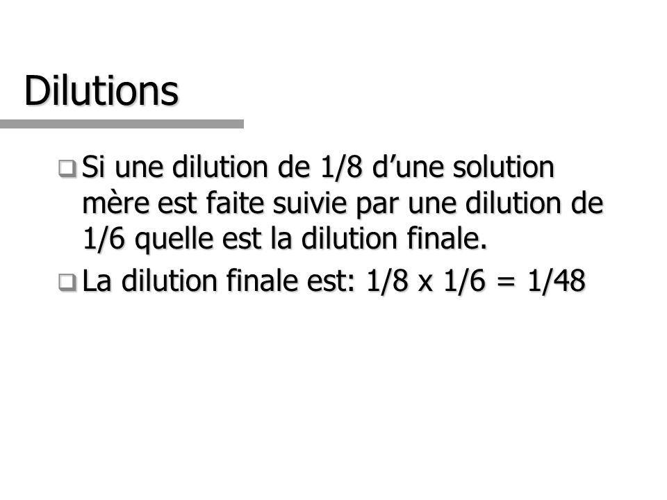 Dilutions Si une dilution de 1/8 d'une solution mère est faite suivie par une dilution de 1/6 quelle est la dilution finale.