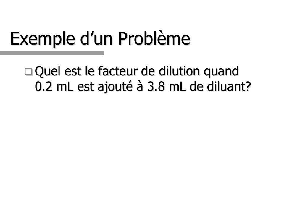 Exemple d'un Problème Quel est le facteur de dilution quand 0.2 mL est ajouté à 3.8 mL de diluant