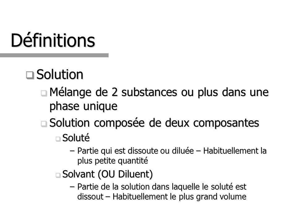 Définitions Solution. Mélange de 2 substances ou plus dans une phase unique. Solution composée de deux composantes.