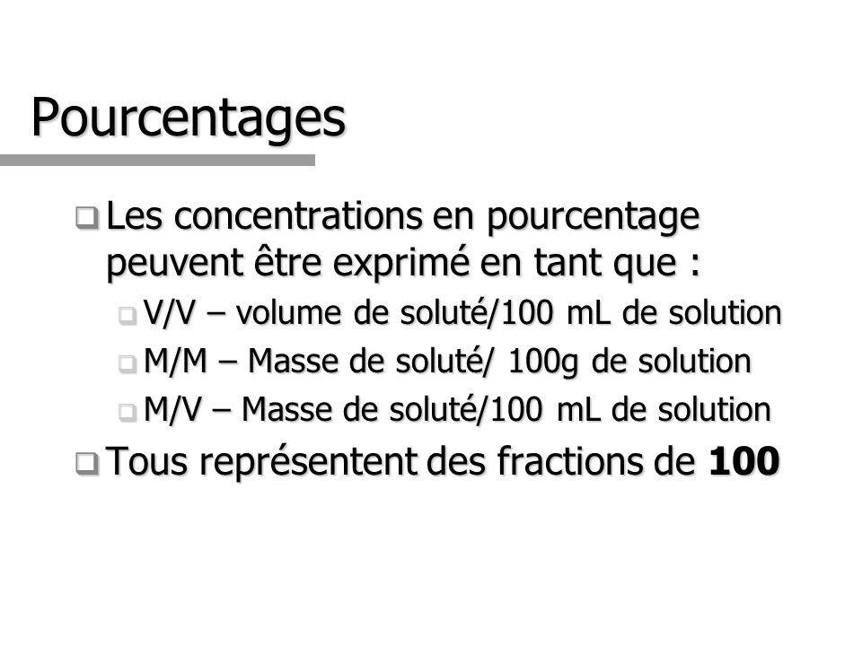 Pourcentages Les concentrations en pourcentage peuvent être exprimé en tant que : V/V – volume de soluté/100 mL de solution.