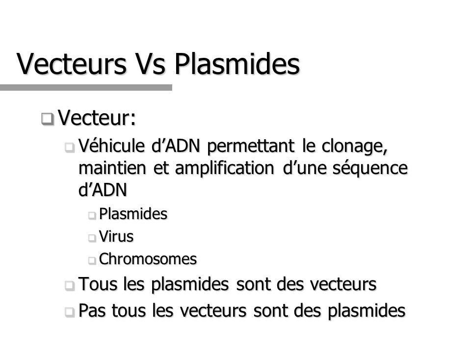 Vecteurs Vs Plasmides Vecteur: