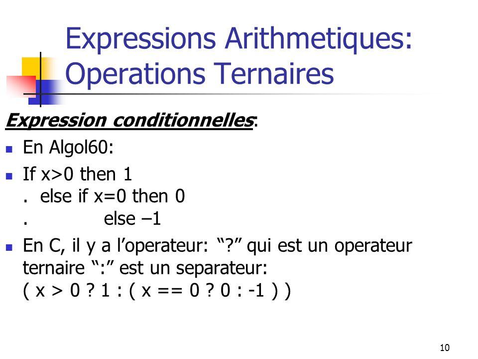 Expressions Arithmetiques: Operations Ternaires