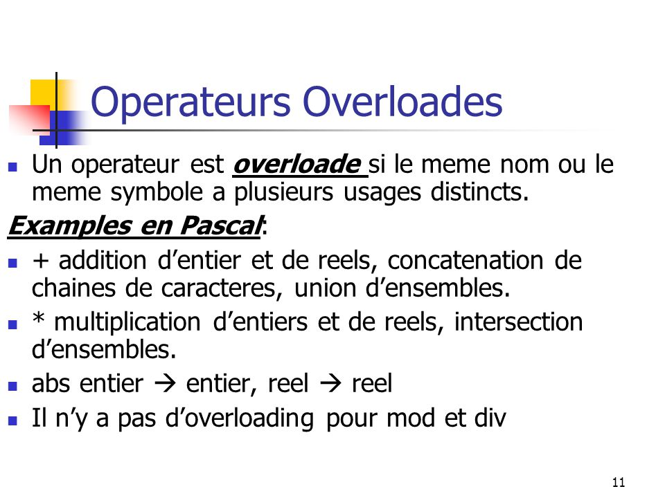 Operateurs Overloades