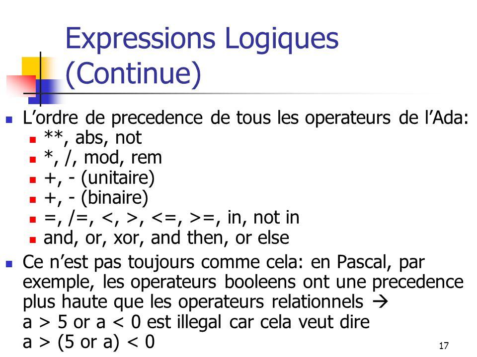 Expressions Logiques (Continue)