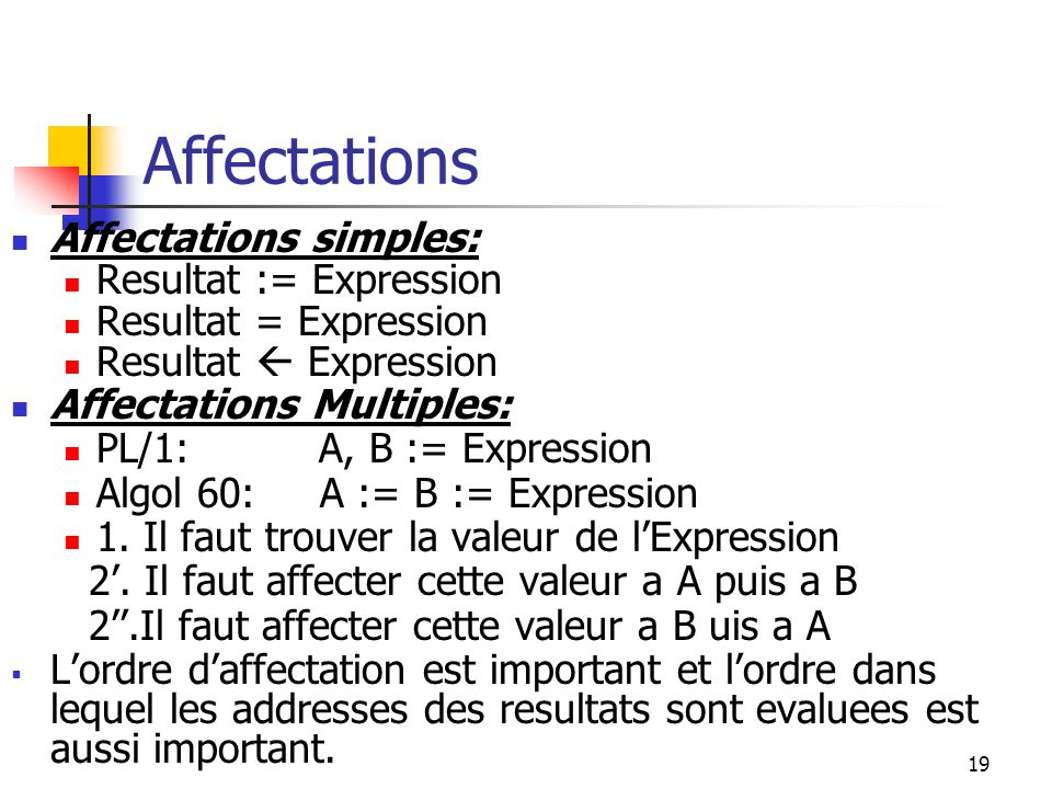 Affectations Affectations simples: Resultat := Expression