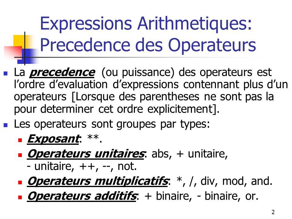 Expressions Arithmetiques: Precedence des Operateurs