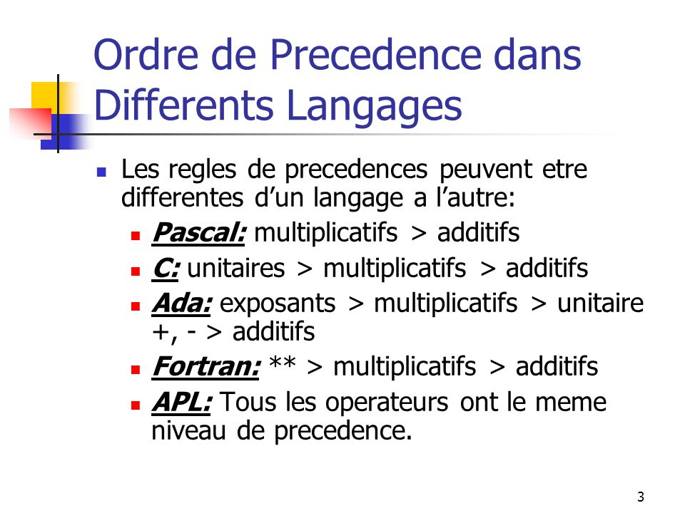 Ordre de Precedence dans Differents Langages