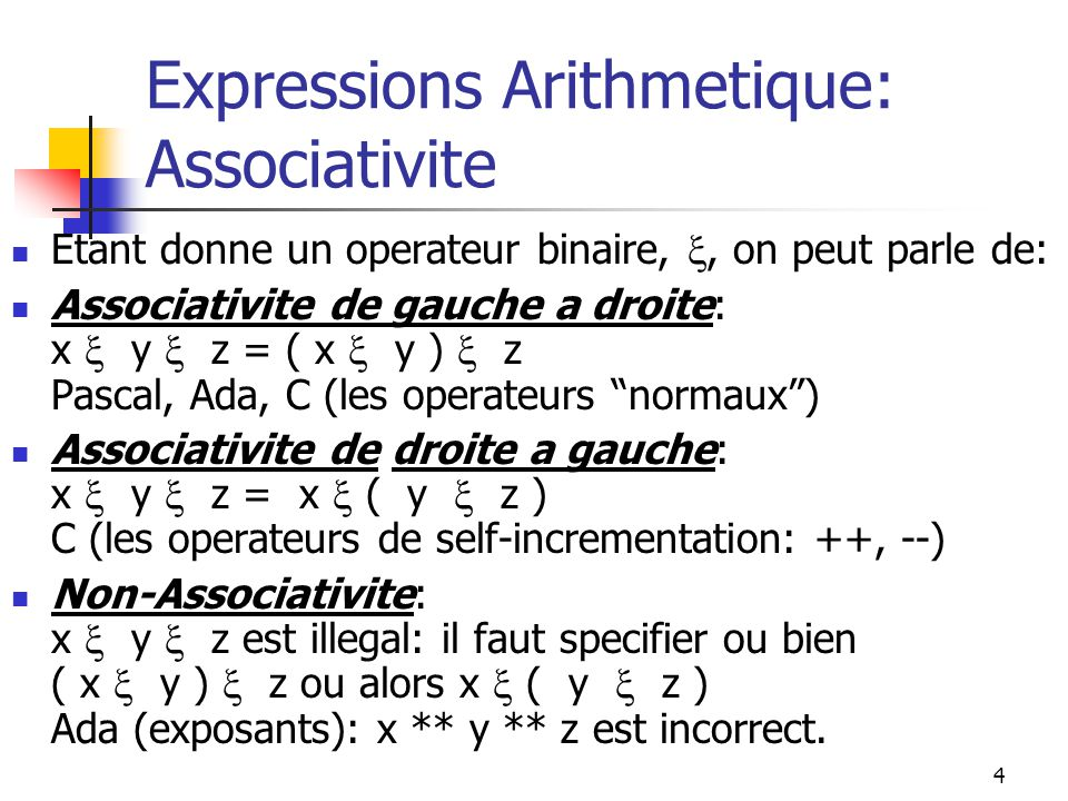 Expressions Arithmetique: Associativite