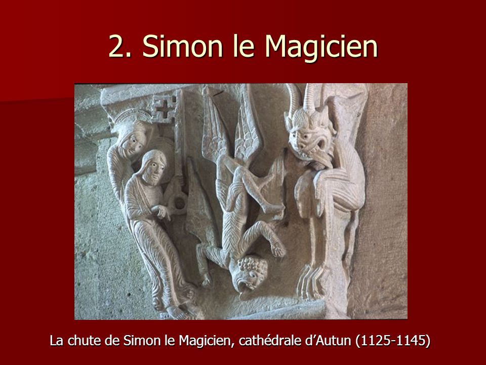 La chute de Simon le Magicien, cathédrale d'Autun (1125-1145)