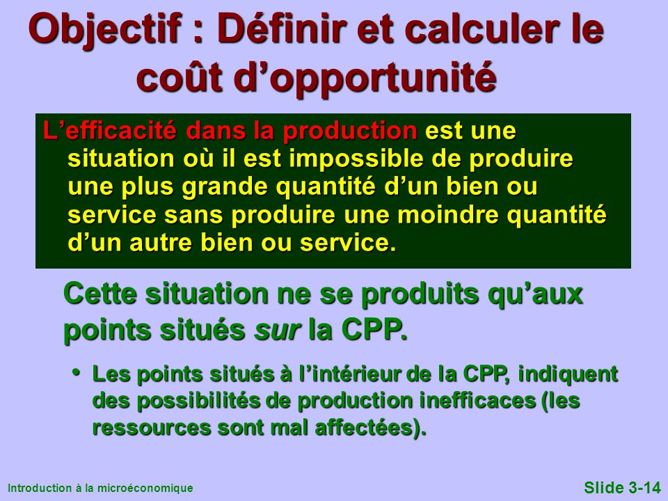 Objectif : Définir et calculer le coût d'opportunité