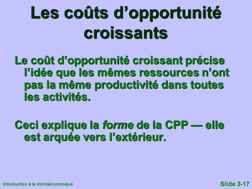 Les coûts d'opportunité croissants