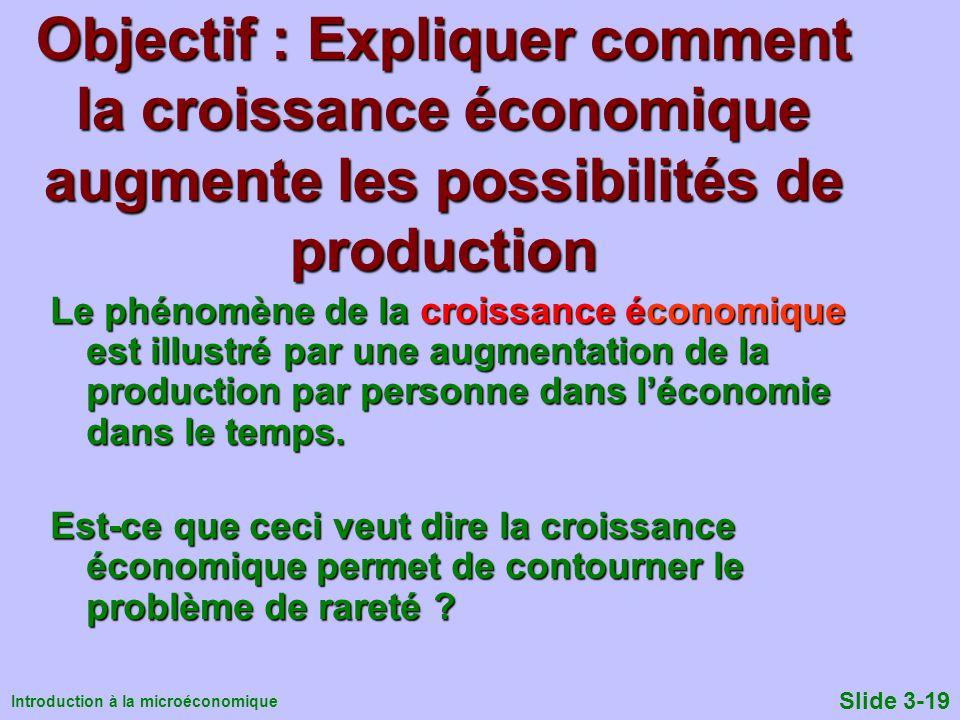 Objectif : Expliquer comment la croissance économique augmente les possibilités de production