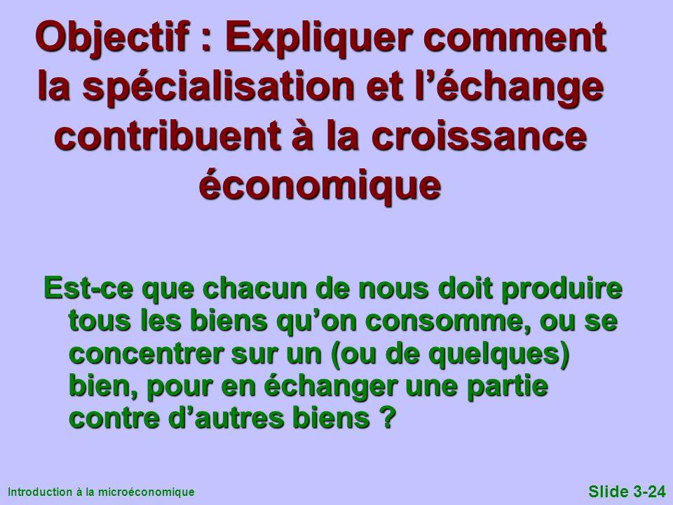 Objectif : Expliquer comment la spécialisation et l'échange contribuent à la croissance économique