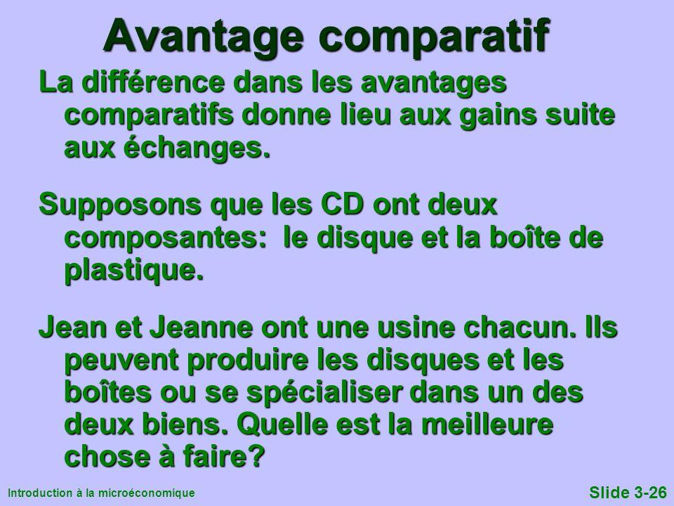 Avantage comparatif La différence dans les avantages comparatifs donne lieu aux gains suite aux échanges.