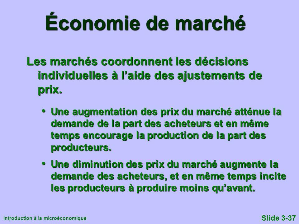 Économie de marché Les marchés coordonnent les décisions individuelles à l'aide des ajustements de prix.