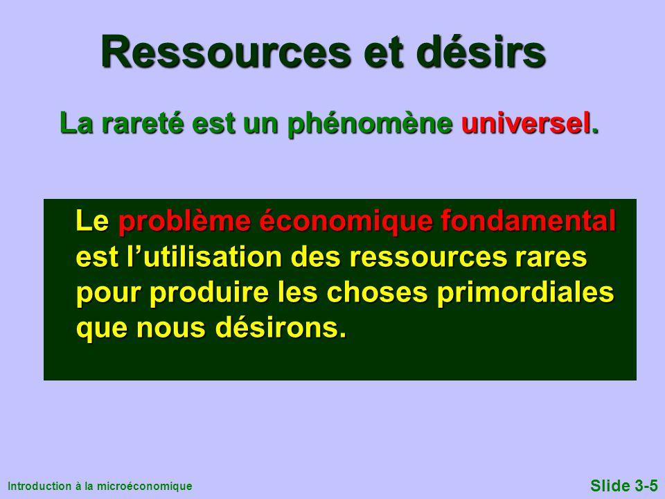 Ressources et désirs La rareté est un phénomène universel.