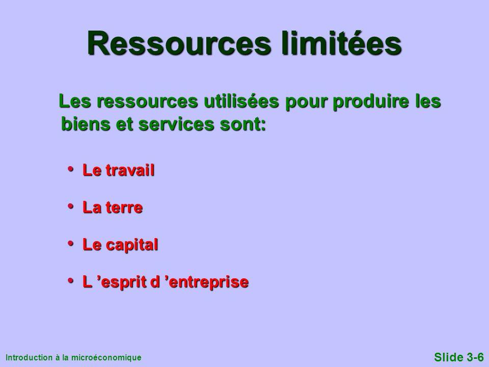 Ressources limitées Les ressources utilisées pour produire les biens et services sont: Le travail.