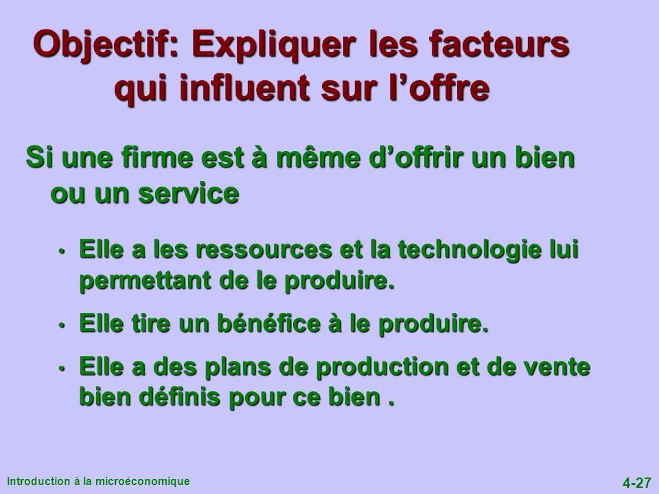 Objectif: Expliquer les facteurs qui influent sur l'offre