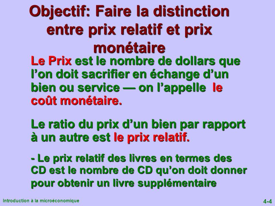 Objectif: Faire la distinction entre prix relatif et prix monétaire