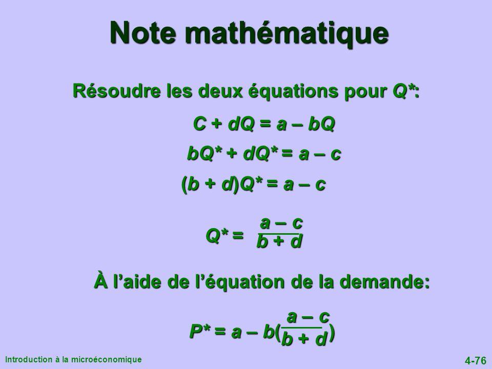 Résoudre les deux équations pour Q*: