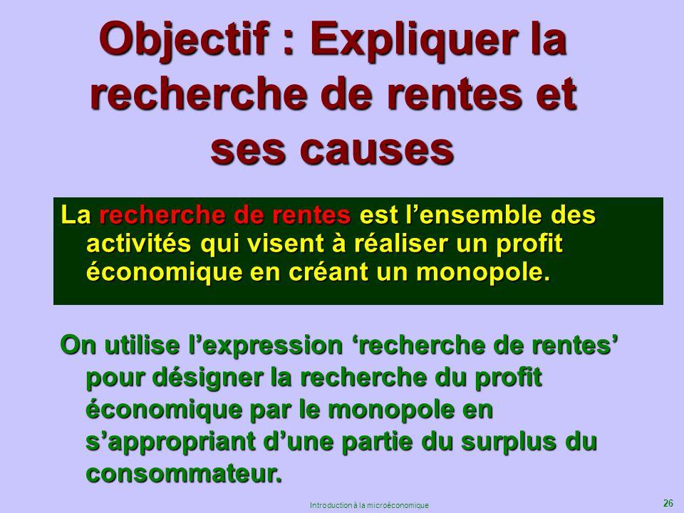 Objectif : Expliquer la recherche de rentes et ses causes