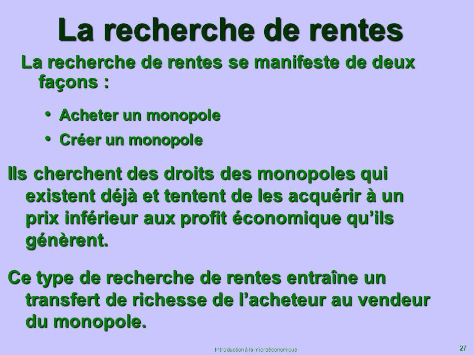 La recherche de rentes La recherche de rentes se manifeste de deux façons : Acheter un monopole. Créer un monopole.