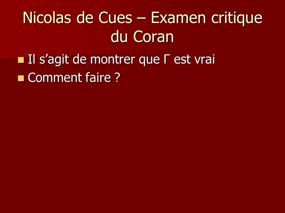 Nicolas de Cues – Examen critique du Coran