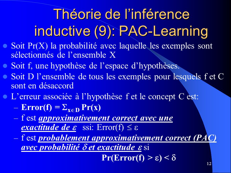 Théorie de l'inférence inductive (9): PAC-Learning