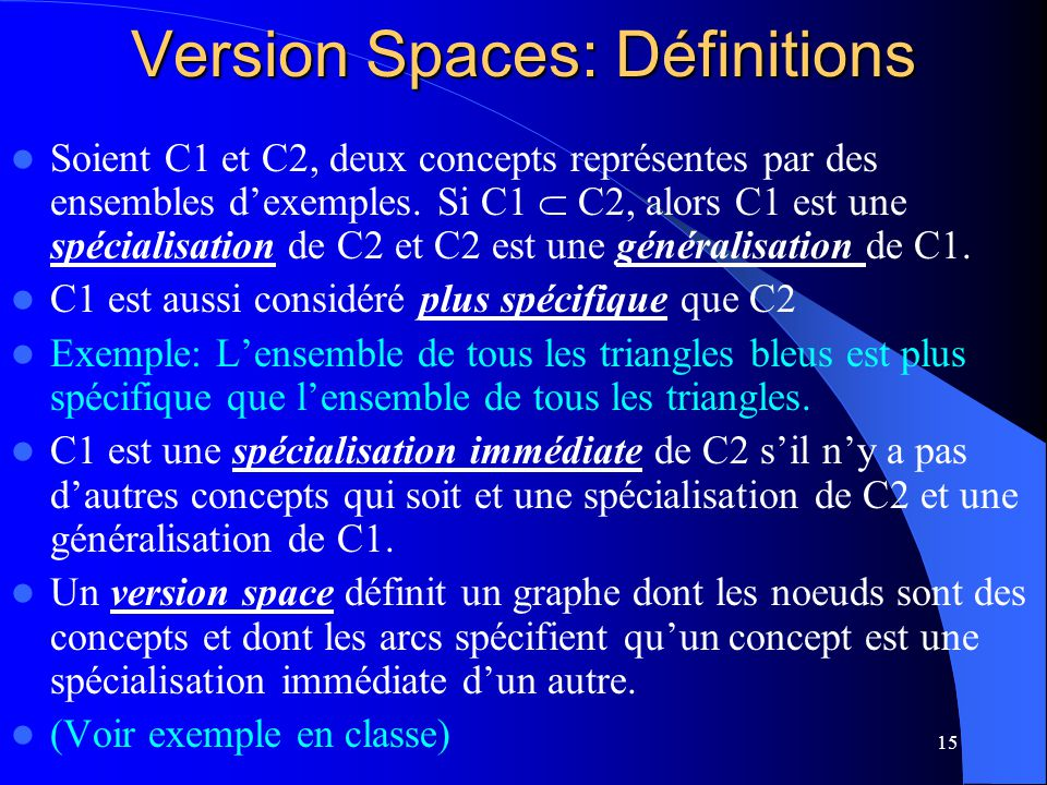 Version Spaces: Définitions