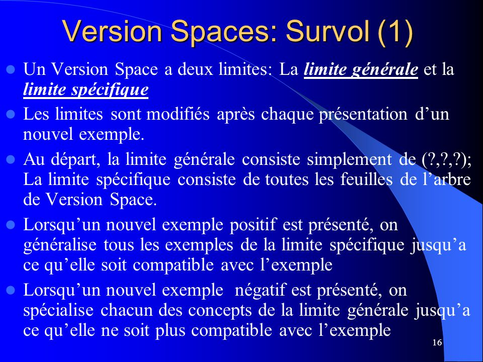 Version Spaces: Survol (1)