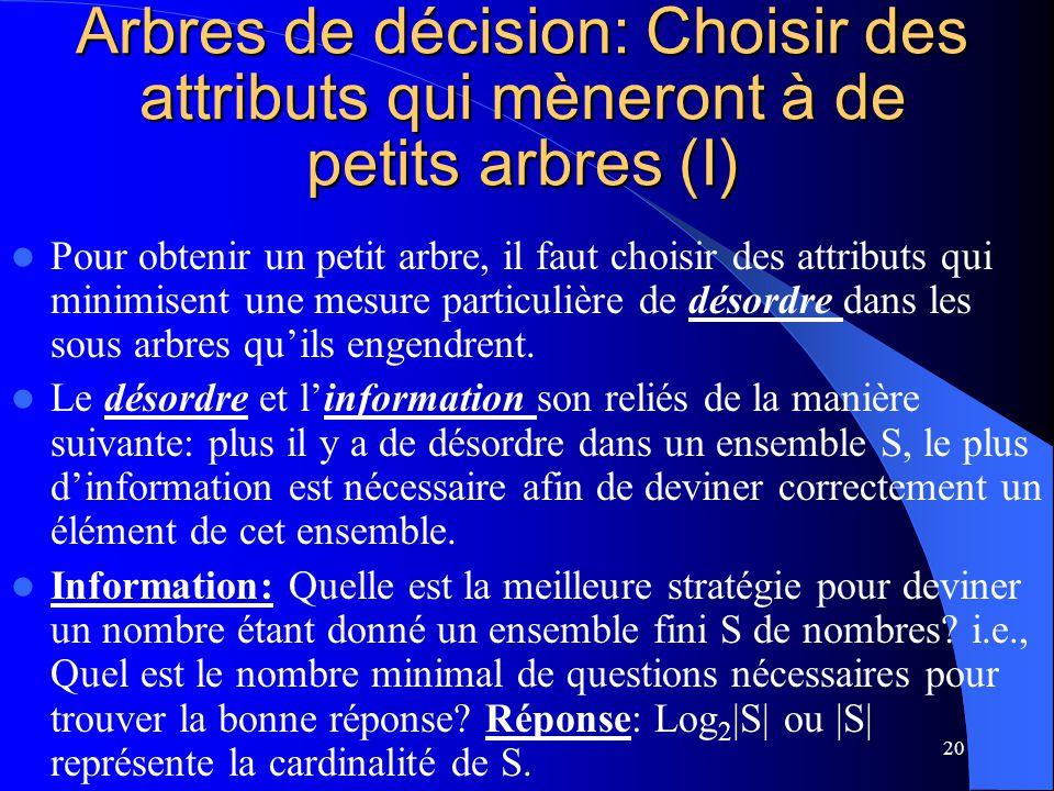Arbres de décision: Choisir des attributs qui mèneront à de petits arbres (I)
