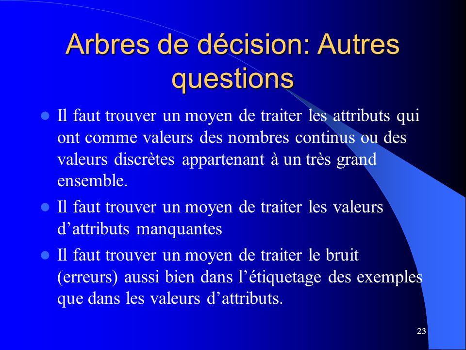 Arbres de décision: Autres questions