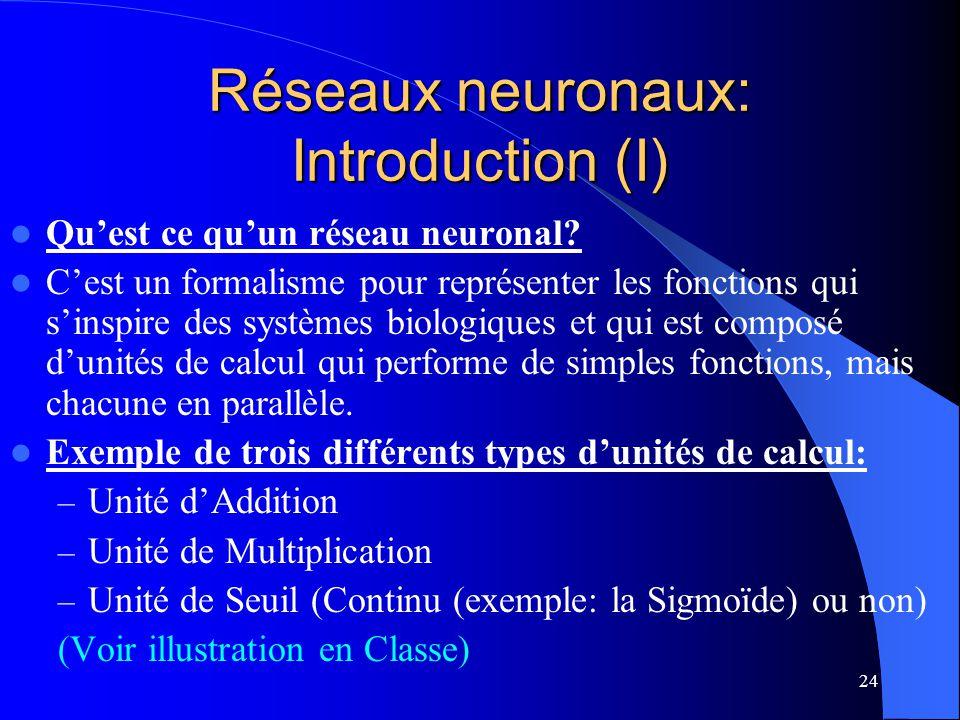 Réseaux neuronaux: Introduction (I)